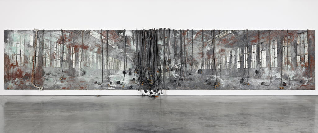 Anselm Kiefer Dat rosa miel apibus 2010 11 Oil acrylic terracotta salt lead and resin on canvas 129 1516 x 673 14 in. 330 x 1710 cm © the artist Photo Ben Westoby Cou