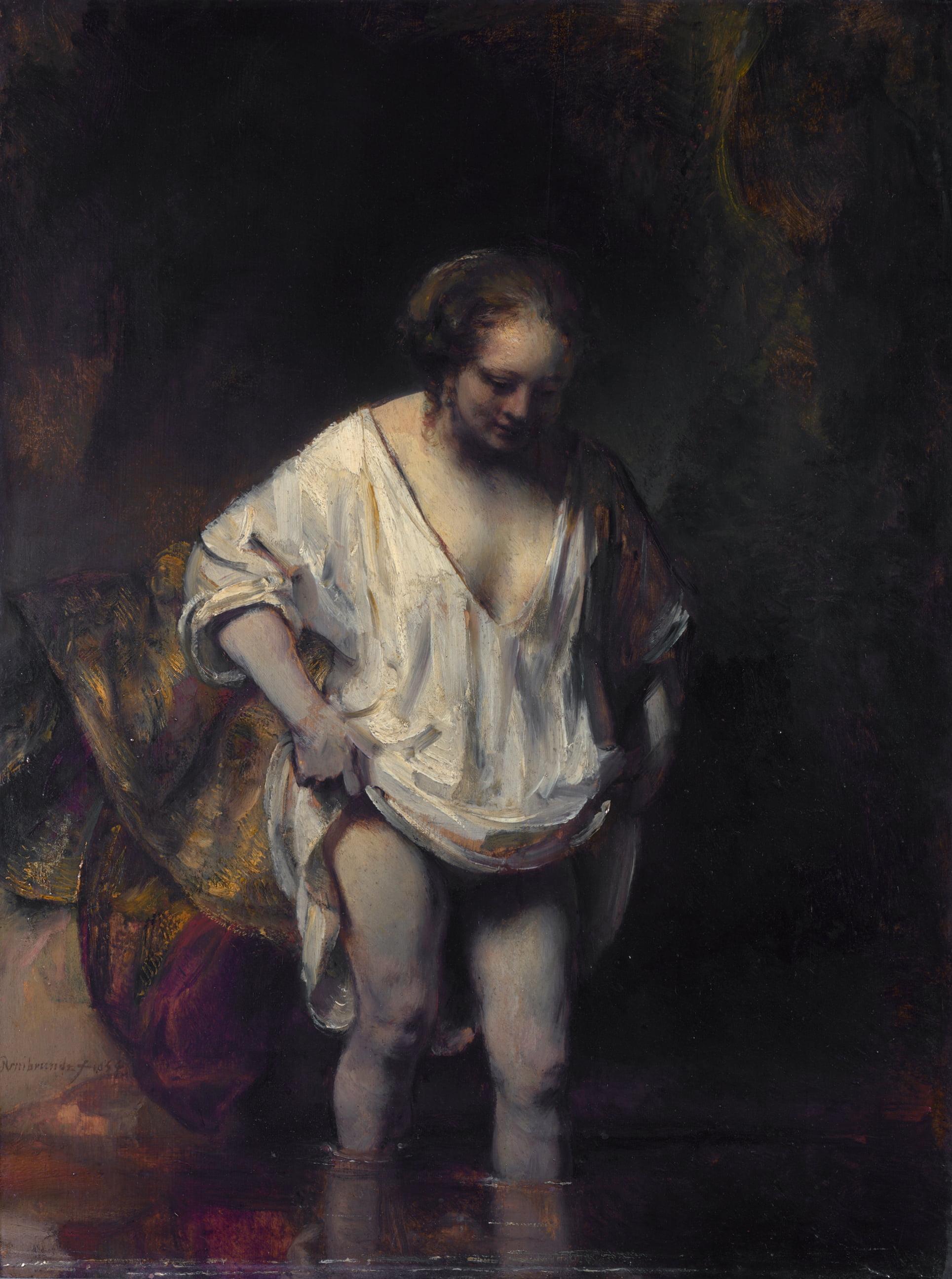 pintura-gestual-Rembrandt-mujer-banándose-en-un-arroyo