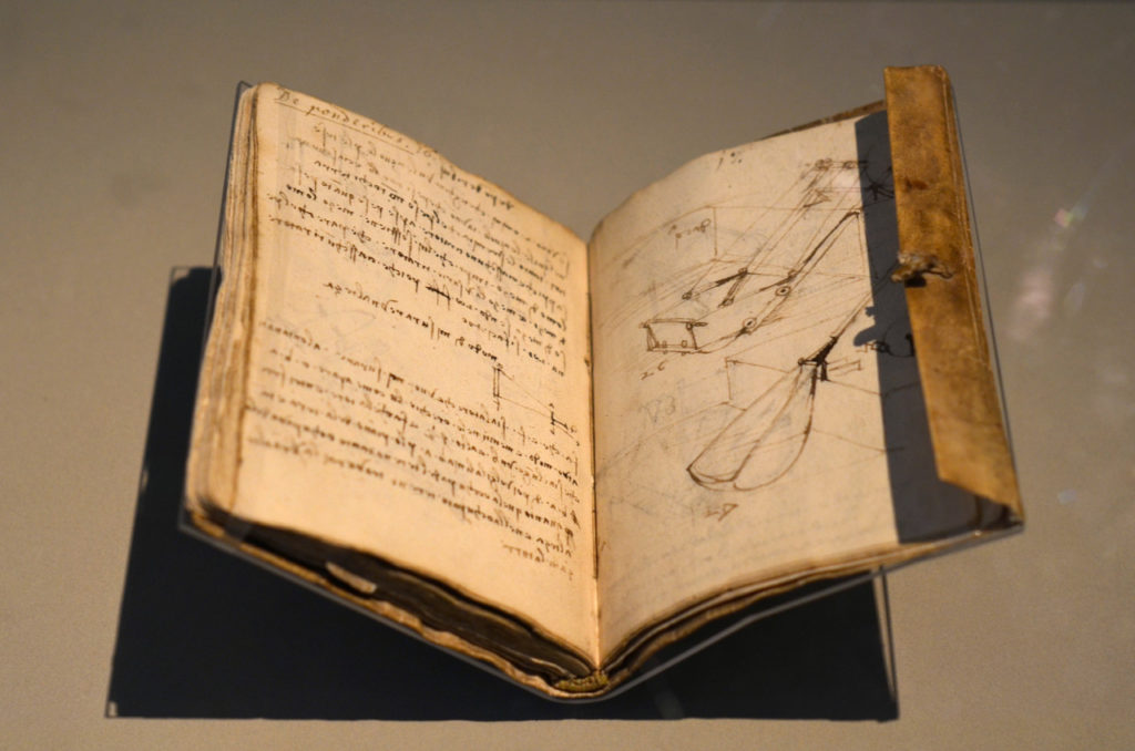 One of Leonardo da Vinci's notebooks, compiled while he worked for Duke Ludovico Sforza in