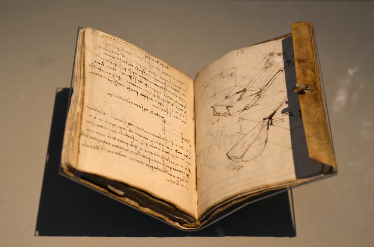 One of Leonardo da Vincis notebooks compiled while he worked for Duke Ludovico Sforza in