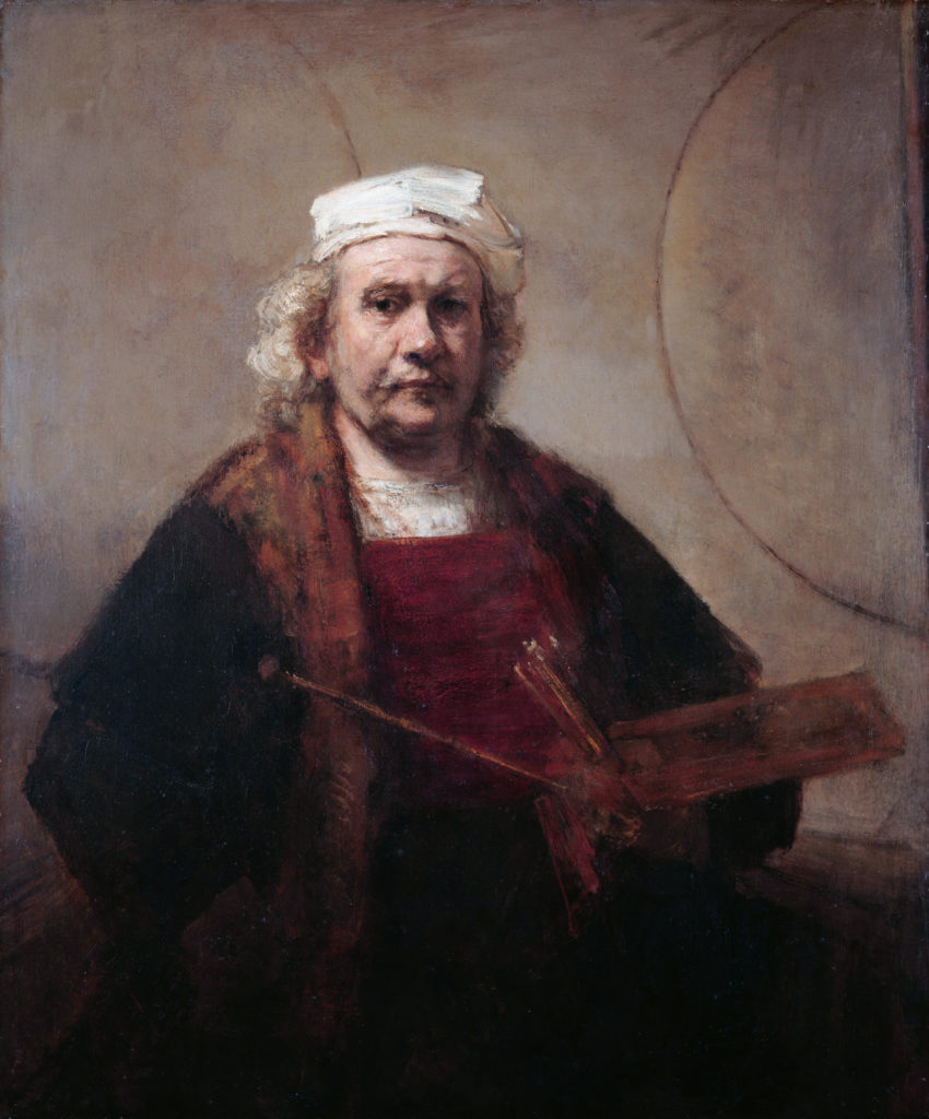 Self Portrait with two circles *oil on canvas *114,3 x 94 cm *1665 - 1669
