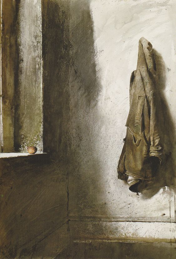 Andrew Wyeth, Willard Coat, Acuarela y Dry Brush (1968)
