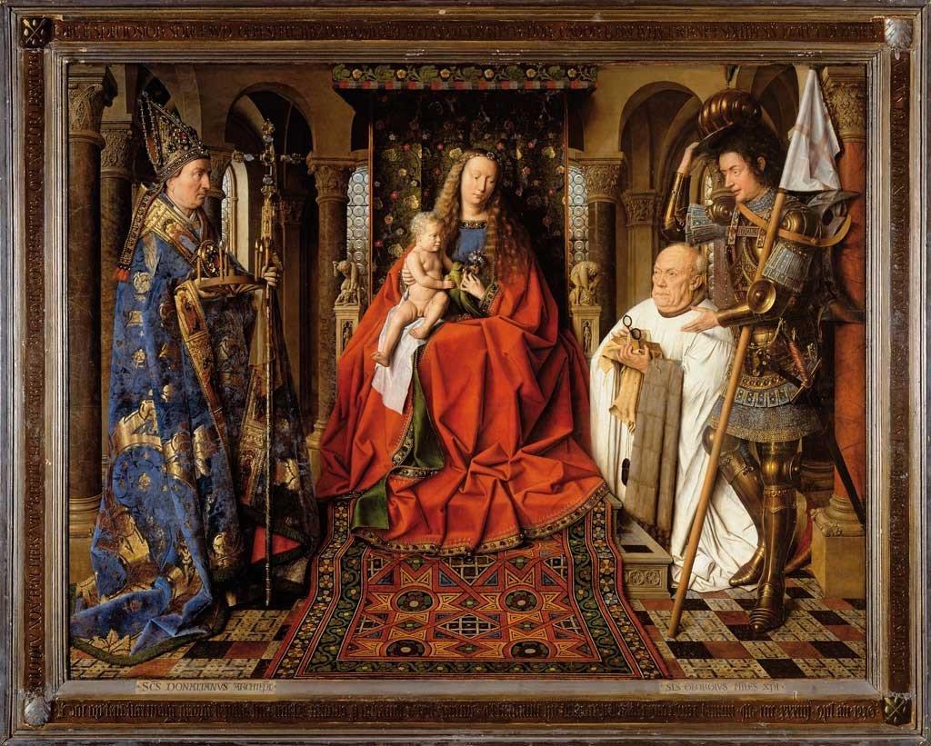 técnicas-de-pintura-Jan-Van-Eyck-Virgen-y-Niño-con-Canon-van-der-Paele