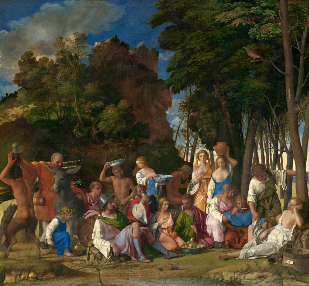 Giavanni Belinni The Feast of the Gods, c. 1514 completed by his disciple, Titian, 1529; oil on canvas; National Gallery of Art, Washington[