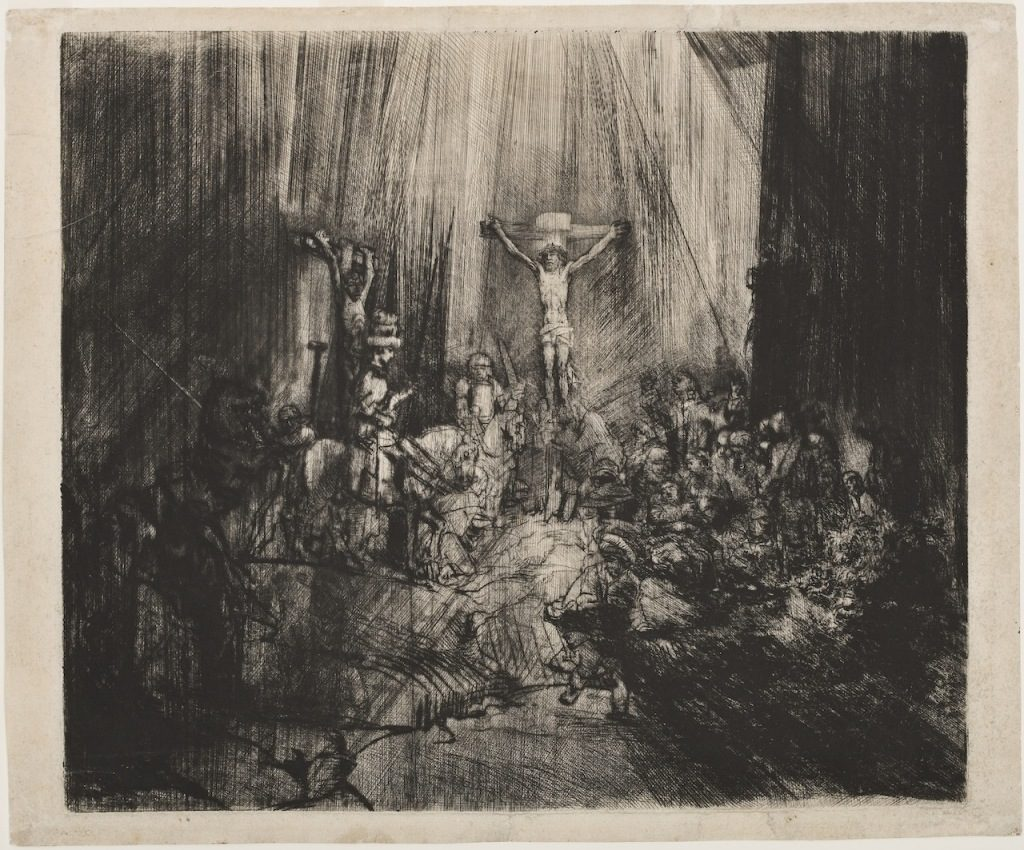 rembrandt-van-rijn-christ-crucified-between-two-thieves-the-three-crosses-1653-55-drypoint-with-burin-on-cream-laid-paper-courtesy-of-the-grand-rapids-art-museum, luz en el dibujo
