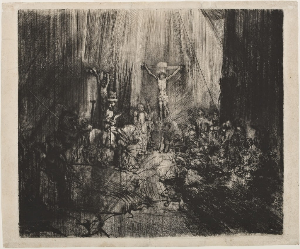 "Rembrandt van Rijn ""Christ Crucified Between Two Thieves The Three Crosses"" 1653–55 Drypoint with burin on cream laid paper courtesy of the Grand Rapids Art Museum"