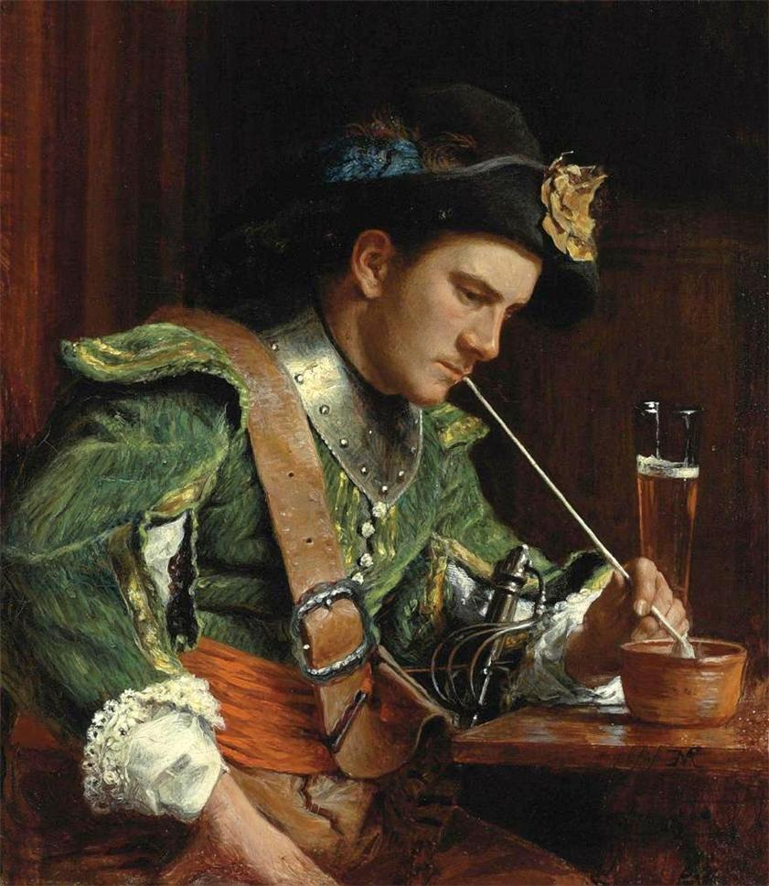 a soldier smoking a pipe in an interior by jean louis ernest meissonier