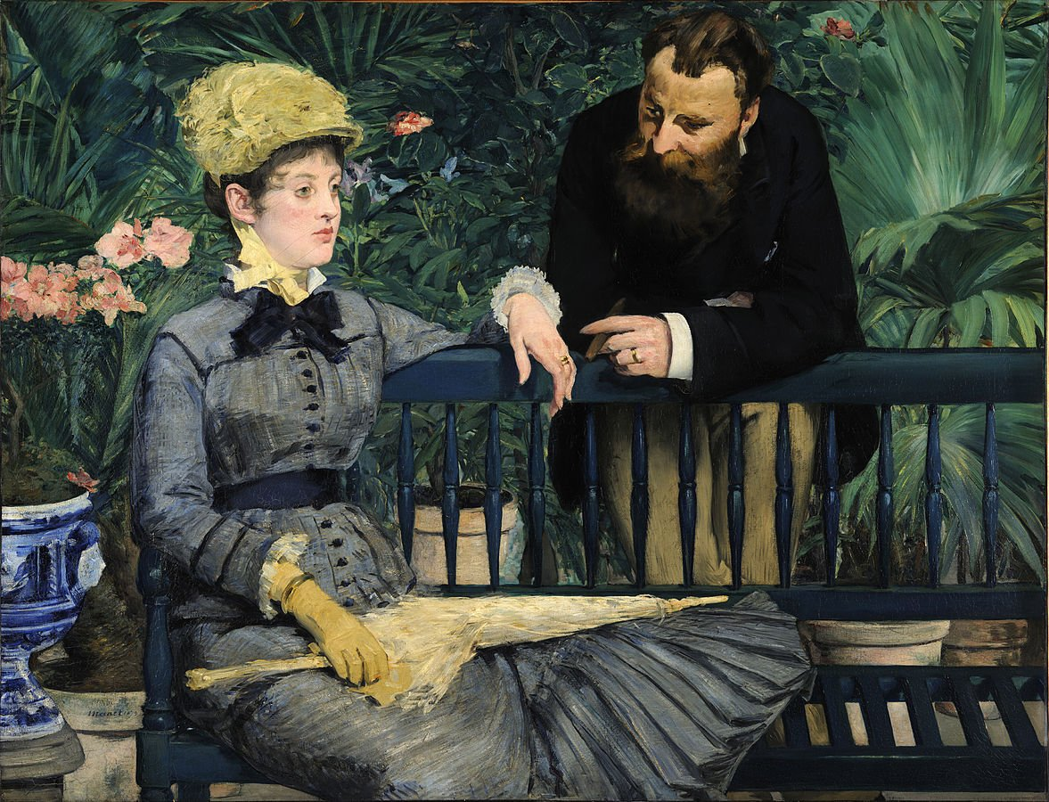 Édouard Manet, Dans la serre (En el invernadero), óleo sobre tela, 115 cm × 150 cm, 1878 - 1879, Galería nacional, Berlín.