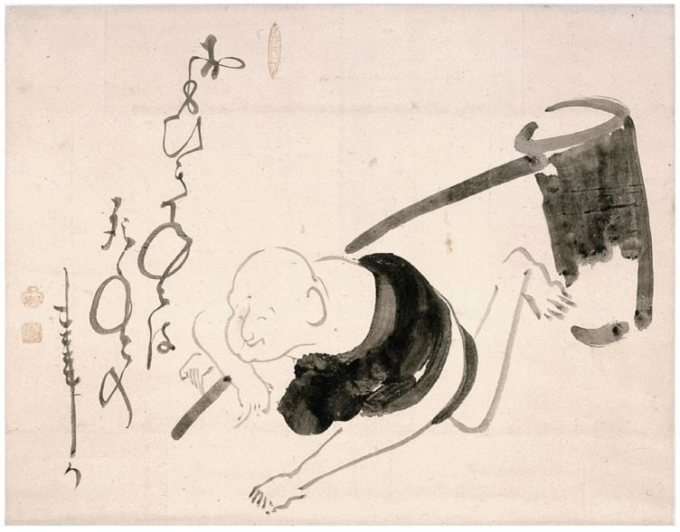 Hotei with a Mallet. Ink on paper 40.9 x 52.4 cm. Manyoan Collection.