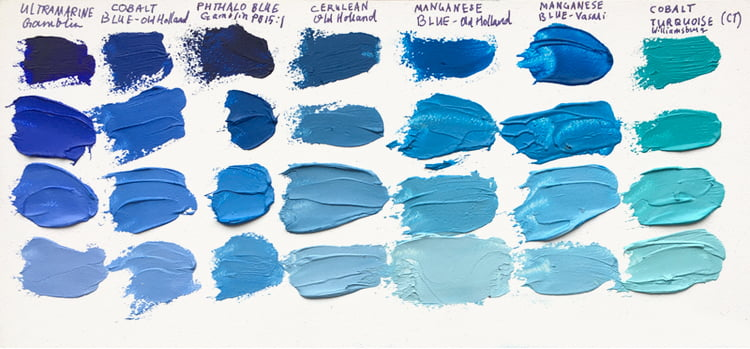 bluepaintcomparison bluepigments melissacarmon art