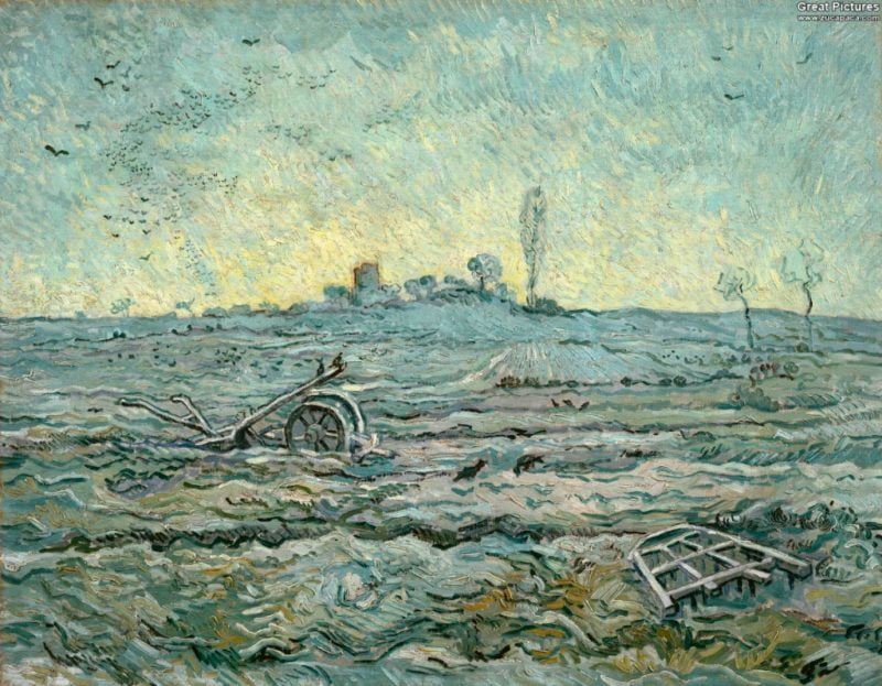 vincent van gogh 1890 snow covered field with a harrow after millet