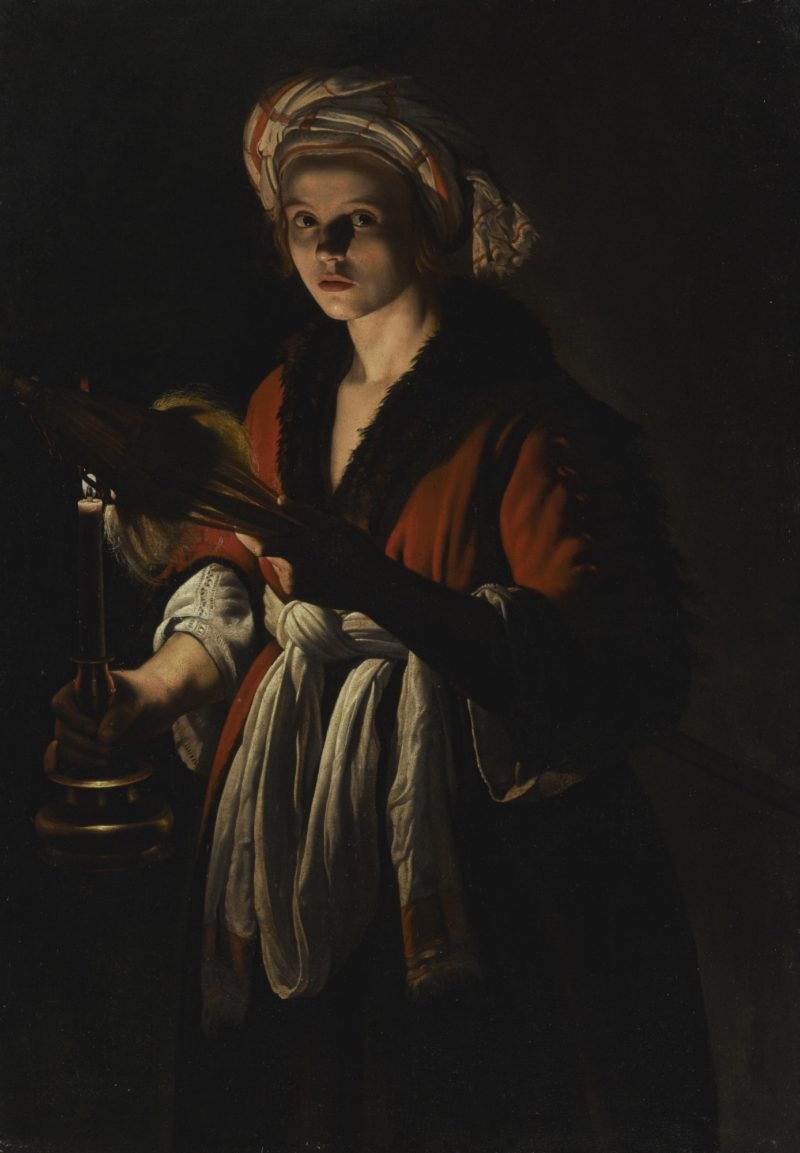 adam de coster   a young woman holding a distaff before a lit candle