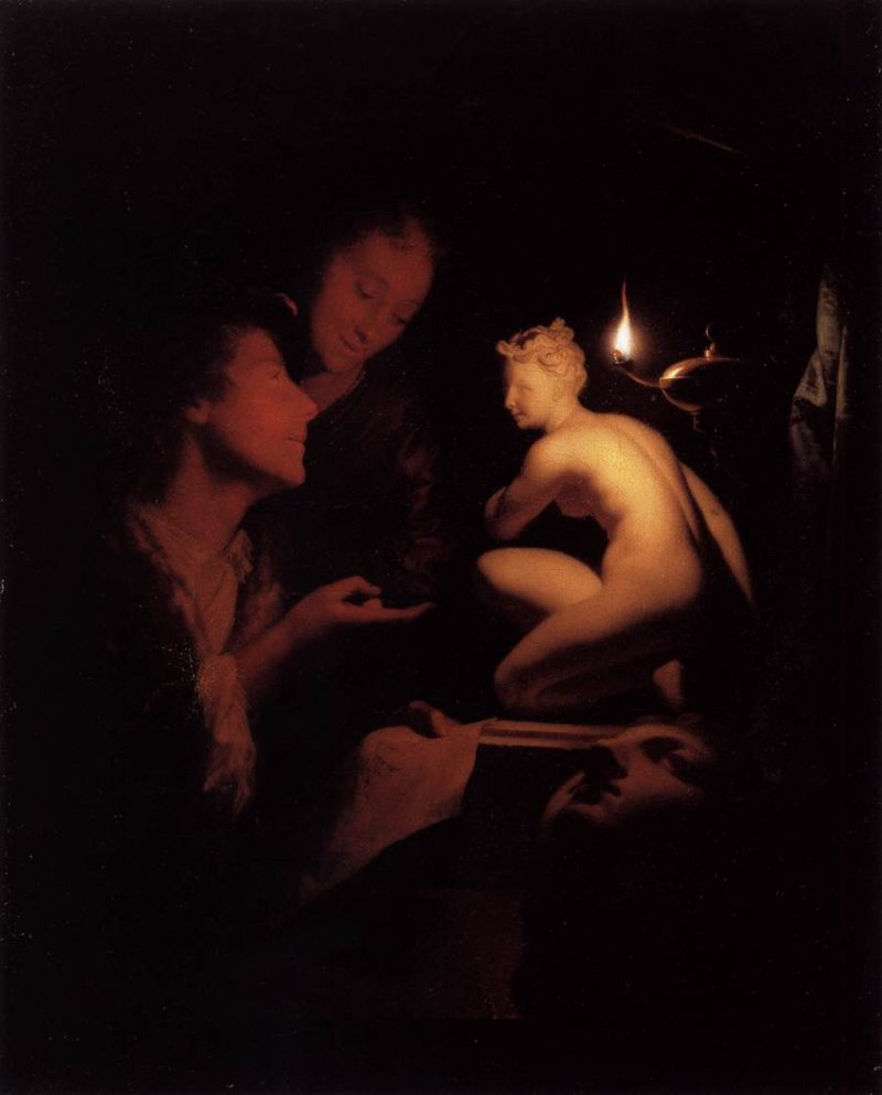 godfried schalcken   artist and model looking at an ancient statue by lamplight   wga20946