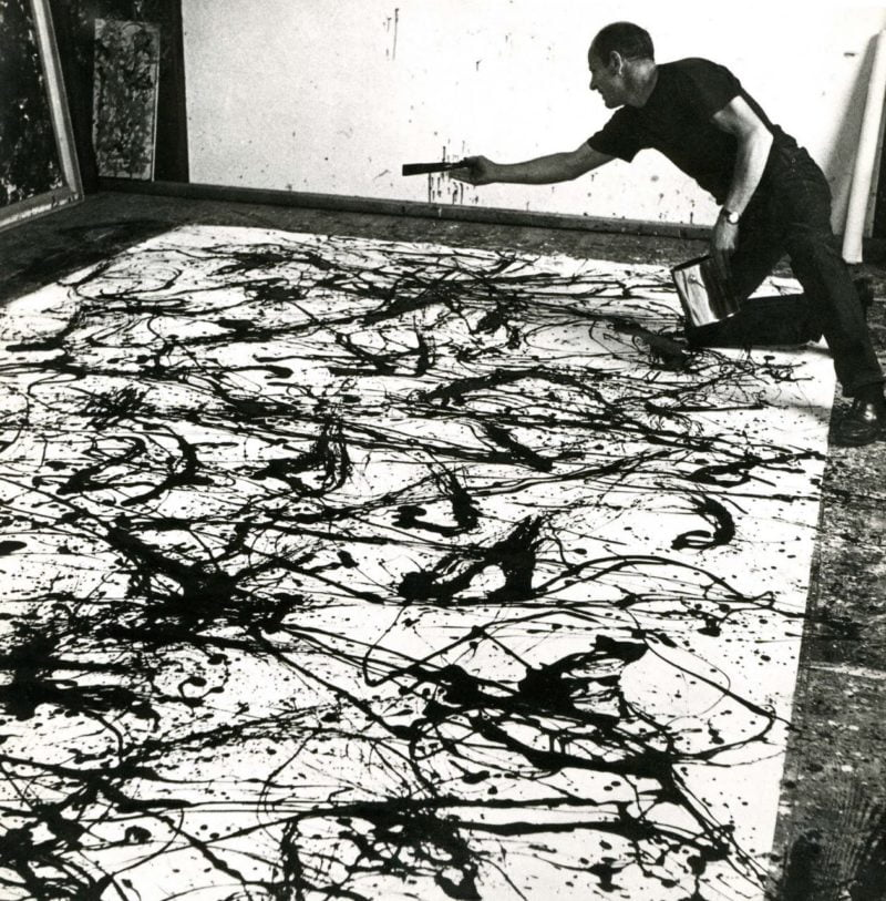 jackson pollock painting in his long island studio photo by hans namuth