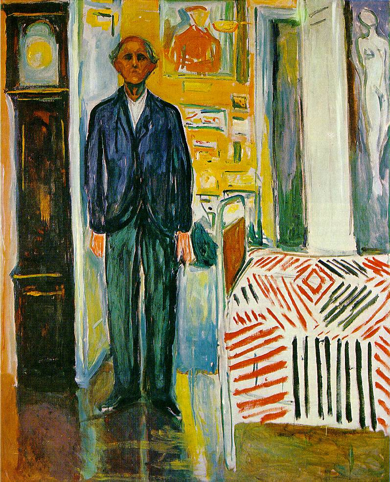 edvard munch autorretrato entre el reloj y la cama1943