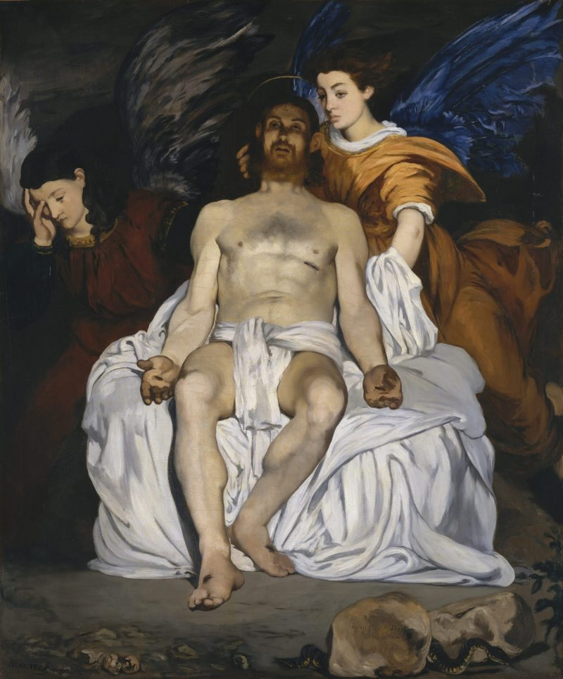 the dead christ with angels artist edouard manet french paris 1832 1883 paris date 1864 medium oil on canvas dimensions 70 58 x 59 in 179 4 x 149 9 cm