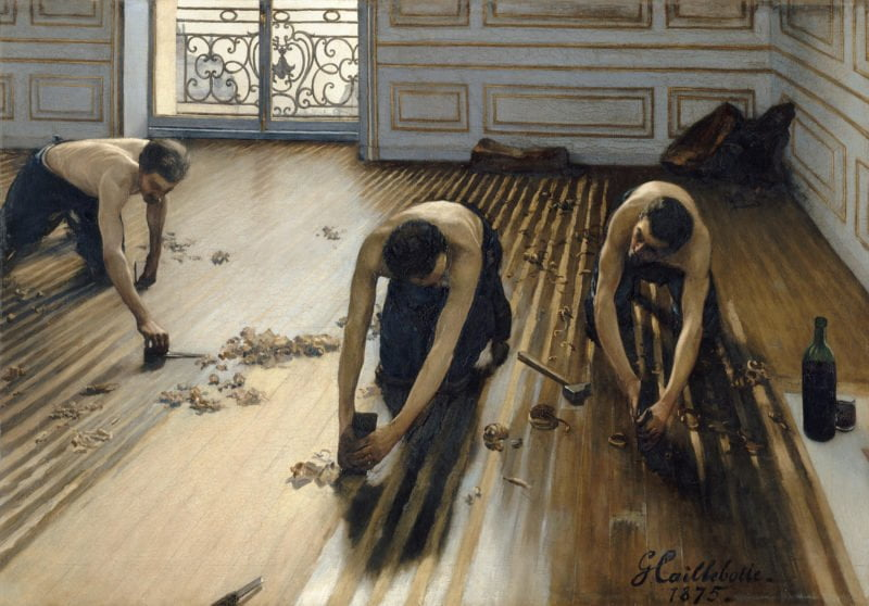 caillebottes 1875 painting the floor scrapers was rejected by the elite salon but it was the work that launched his career