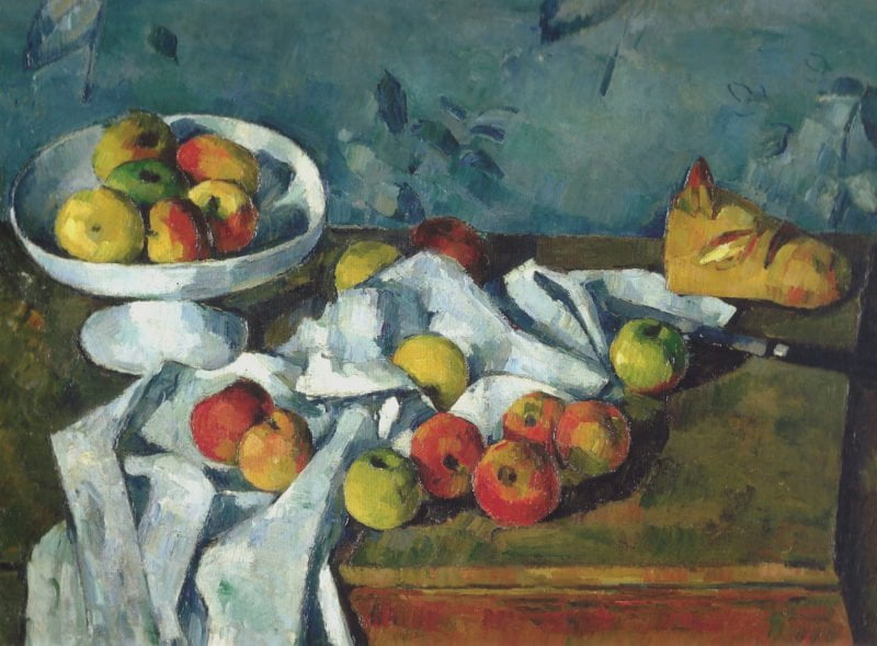 still life with fruit dish apples and bread 1880 paul cezanne