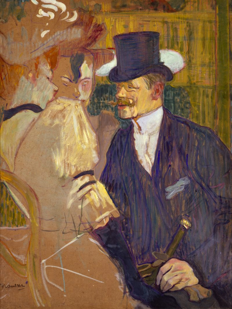 the englishman william tom warrener at the moulin rouge henri de toulouse lautrec french albi saint andre du bois date 1892 medium oil on cardboard