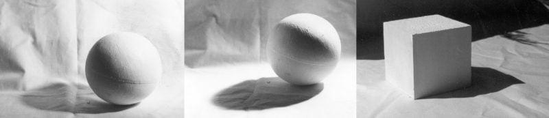 3 photos sphere cube
