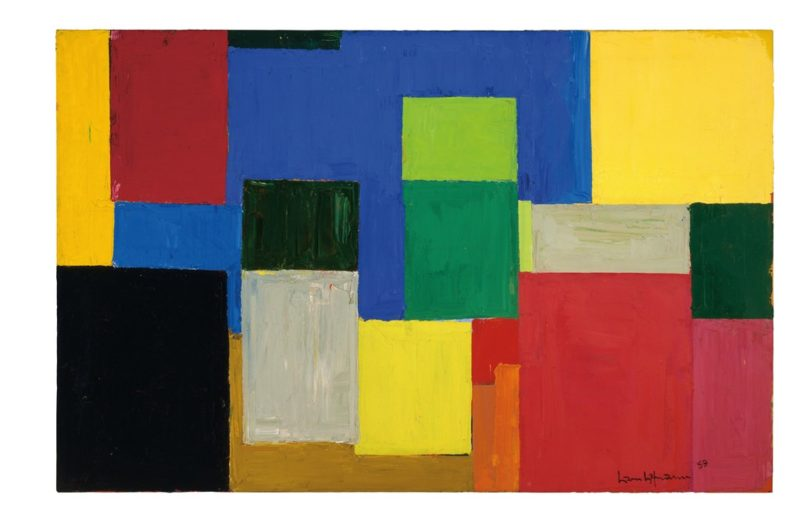 from anderson collection at stanford university hans hofmann fall euphony 1959 oil on canvas 48 x 18 12 in