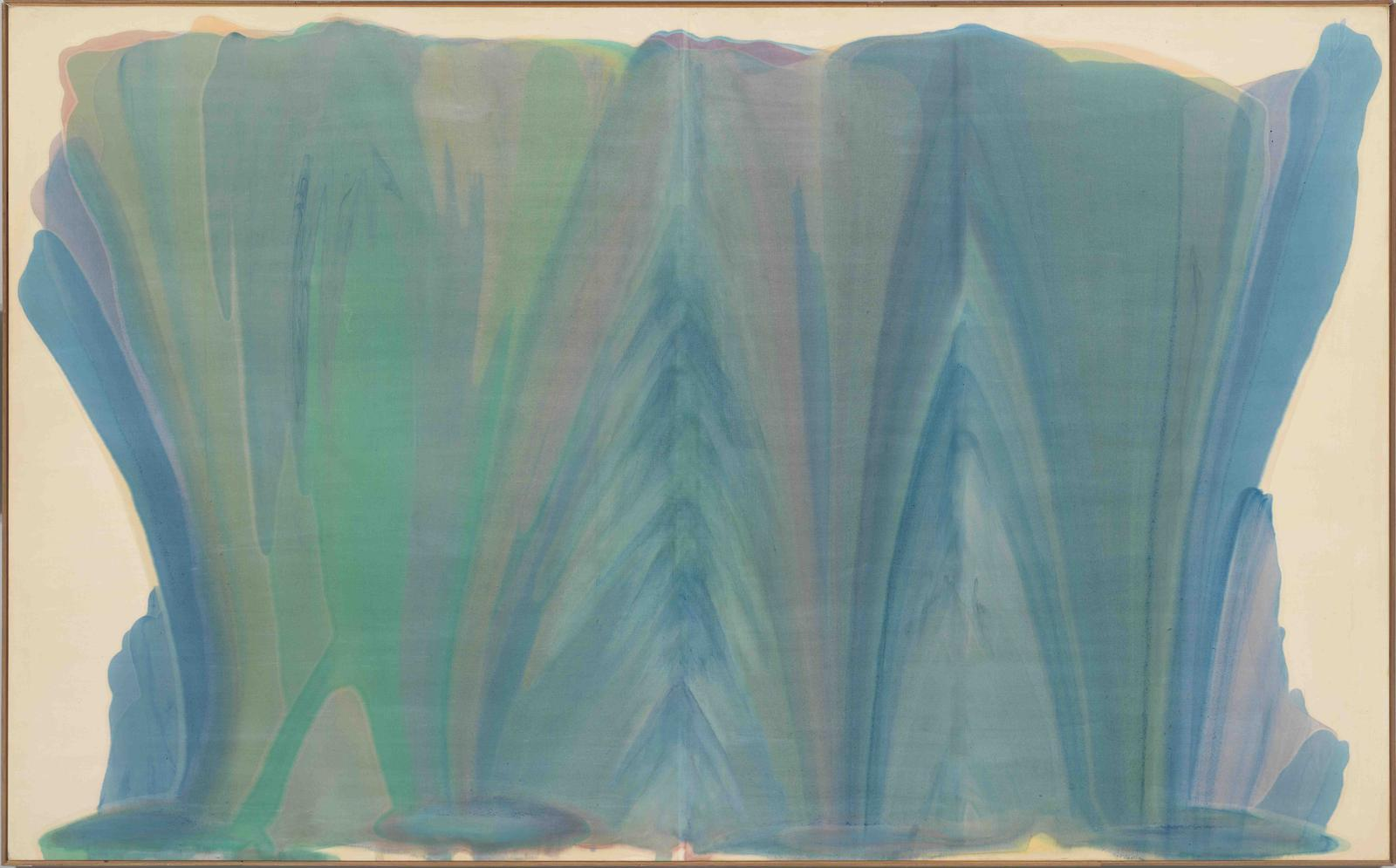 morris louis tet 1958 acrylic magma on raw cotton duck canvas 94 x 152 inches