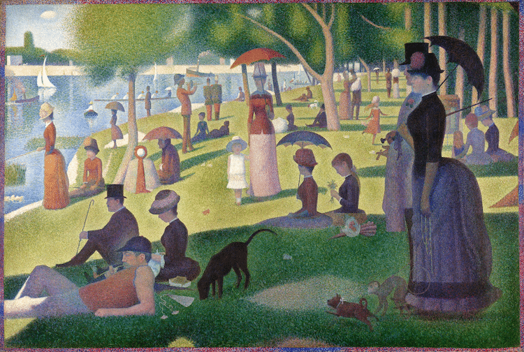 a sunday afternoon on the island of la grande jatte by georges seurat 1884 1886 photo art institute of chicago via wikimedia commons public domain