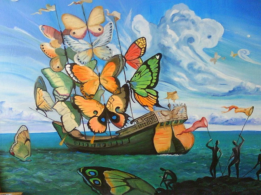 ship with butterfly sails salvador dali oils 1937artwork