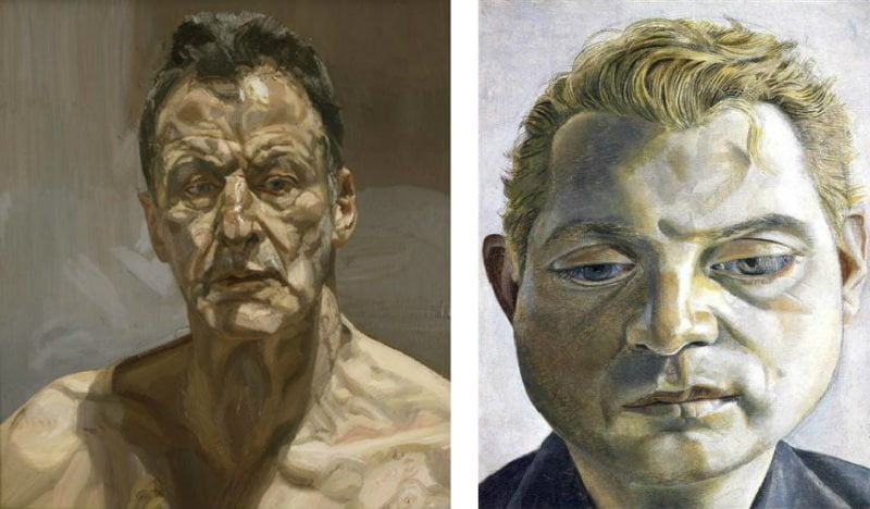 2b1611d0 lucian freud reflection self portrait 1985 left francis bacon 1952 right