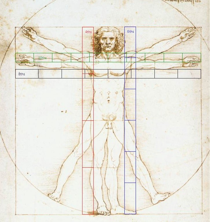 574aad8e vitruvian man fractional measure method