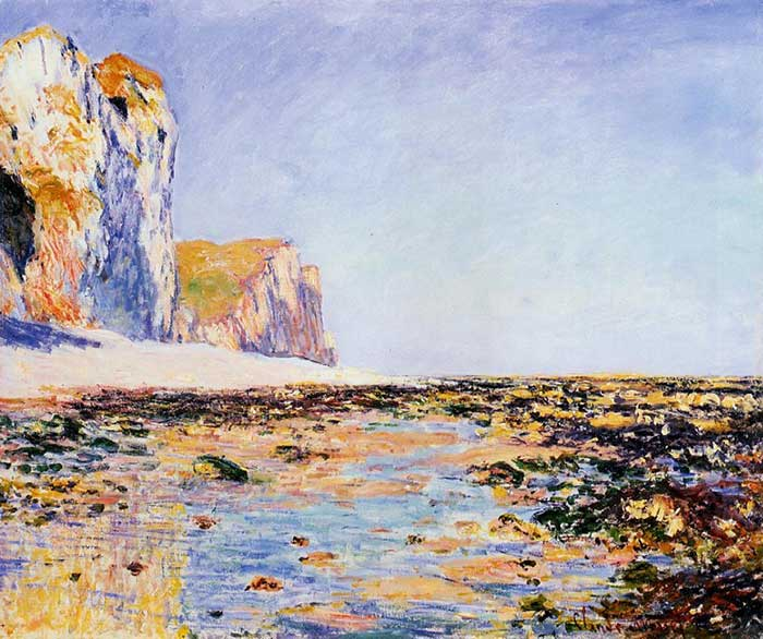 claude monet beach and cliffs at pourville